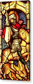Stained Glass Window Depicting Saint George Acrylic Print by German School