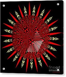 Stained Glass Window Kaleidoscope Polyhedron Acrylic Print by Rose Santuci-Sofranko