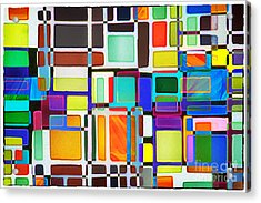 Stained Glass Window Multi-colored Abstract Acrylic Print by Natalie Kinnear