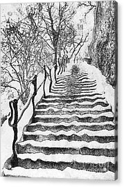 Stairs In Winter Acrylic Print by Odon Czintos