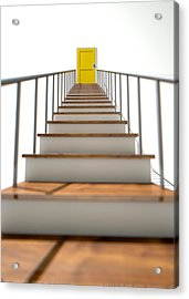 Stairway To Yellow Door Acrylic Print by Allan Swart