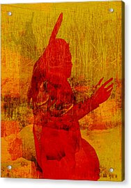 Standing Bear Park Abstract Collage Acrylic Print by Ann Powell