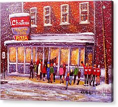 Standing In Line At The Chateau Acrylic Print by Rita Brown
