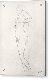 Standing Nude Girl Looking Up Acrylic Print by Gustav Klimt