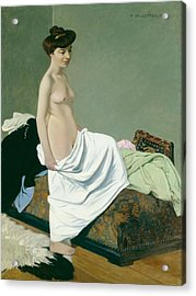 Standing Nude Holding A Gown On Her Knee Acrylic Print by Felix Edouard Vallotton