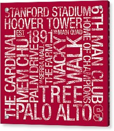 Stanford College Colors Subway Art Acrylic Print by Replay Photos
