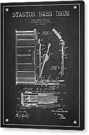 Stanton Bass Drum Patent Drawing From 1904 - Dark Acrylic Print by Aged Pixel