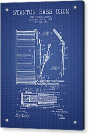 Stanton Bass Drum Patent From 1904 - Blueprint Acrylic Print by Aged Pixel