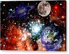 Star Field With Planets Acrylic Print by J D Owen