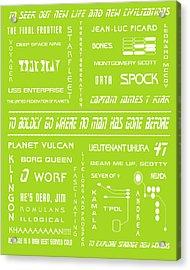 Star Trek Remembered In Green Acrylic Print by Georgia Fowler