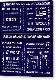 Star Trek Remembered In Navy Blue Acrylic Print by Georgia Fowler