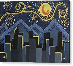 Starry Night Cityscape Acrylic Print by Angelina Vick