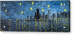 Starry Night In Chicago Acrylic Print by Rafay Zafer