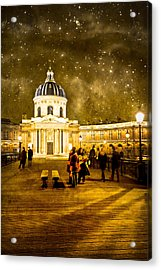 Starry Night Over The Institut De France Acrylic Print by Mark Tisdale