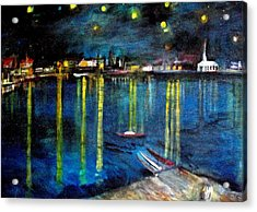 Starry Night Over The Rhone River Acrylic Print by Rick Todaro