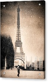 Stars Fall On The Eiffel Tower Acrylic Print by Mark E Tisdale