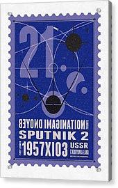 Starschips 21- Poststamp - Sputnik 2 Acrylic Print by Chungkong Art