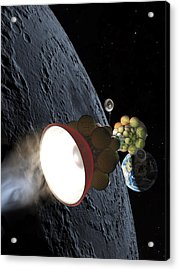 Starship Departing From Lunar Orbit Acrylic Print by Don Dixon