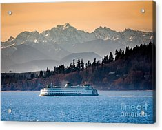 State Ferry And The Olympics Acrylic Print by Inge Johnsson