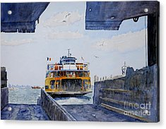Staten Island Ferry Docking Acrylic Print by Anthony Butera