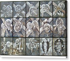 Stations Of The Cross Acrylic Print by Mary jane Miller