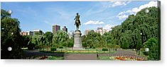 Statue In A Garden, Boston Public Acrylic Print by Panoramic Images