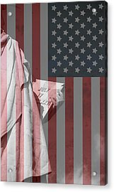 Statue Of Liberty And American Flag Acrylic Print by Dan Sproul