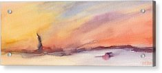 Statue Of Liberty At Sunset Watercolor Painting Of New York Acrylic Print by Beverly Brown Prints