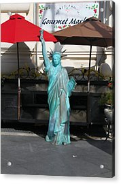 Statue Of Liberty At The Market Acrylic Print by Dan Sproul