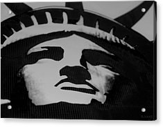 Statue Of Liberty In Black And White Acrylic Print by Rob Hans