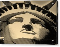 Statue Of Liberty In Sepia Acrylic Print by Rob Hans