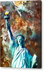 Statue Of Liberty - She Stands Acrylic Print by Sharon Cummings