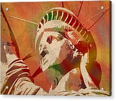 Statue Of Liberty Watercolor Portrait No 1 Acrylic Print by Design Turnpike