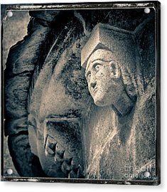 Statue On A Romanesque Church In Auvergne Acrylic Print by Bernard Jaubert