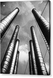 Steam Pipes At Factory Acrylic Print by Underwood Archives
