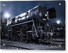 Steam Train In The Night II. Acrylic Print by Martin Dzurjanik