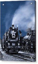 Steam Train In The Night Acrylic Print by Martin Dzurjanik