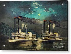 Steamboat Racing On The Mississippi Acrylic Print by Lianne Schneider