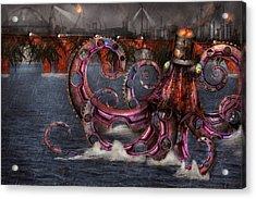 Steampunk - Enteroctopus Magnificus Roboticus Acrylic Print by Mike Savad