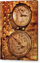 Steampunk - Gauges Acrylic Print by Mike Savad