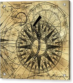 Steampunk Gold Compass Acrylic Print by James Christopher Hill
