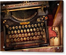 Steampunk - Just An Ordinary Typewriter  Acrylic Print by Mike Savad