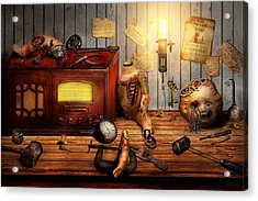 Steampunk - Repairing A Friendship Acrylic Print by Mike Savad