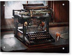 Steampunk - Typewriter - A Really Old Typewriter  Acrylic Print by Mike Savad