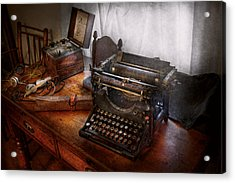 Steampunk - Typewriter - The Secret Messenger  Acrylic Print by Mike Savad