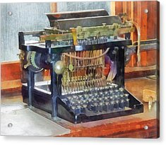 Steampunk - Vintage Typewriter Acrylic Print by Susan Savad