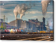 Steel Mill And Freight Yard I Acrylic Print by Clarence Holmes
