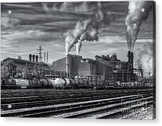 Steel Mill And Freight Yard Iv Acrylic Print by Clarence Holmes