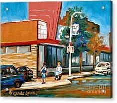 Steinberg's  On Van Horne Street Outremont Montreal Landmarks Acrylic Print by Carole Spandau