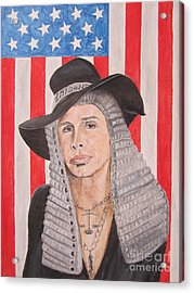 Steven Tyler As A Judge Painting Acrylic Print by Jeepee Aero